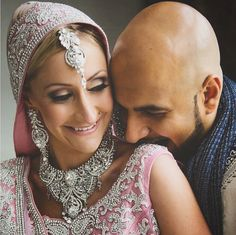 """Love isn't who you can see yourself with. It's who you can't see yourself with."" #WeddingWednesday with Ashley and Sumit ✨ #bridalbeauty #weddinglife #makeupandhair by Kay and Christopher of #kayanabeauty #kayanabeautytrends"