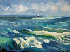 Mona Vivar Florida Seascape Beach Sail Boat Ocean Sky Southern Impressionist Art   eBay