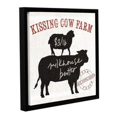 "Laurel Foundry Modern Farmhouse Farm Linen Cow Black Framed Graphic Art on Wrapped Canvas Size: 18"" H x 18"" W x 2"" D"