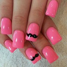 Stylish Nail Art Designs 2015 for women Colorful Nail Designs, Cute Nail Designs, Hot Nails, Pink Nails, Moustache Nails, Mustache, Nail Polish Style, Nagel Hacks, Nails For Kids
