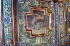 Beschilderd Plafond door Oratio Gentelischi du cabinet des miroirs de la marquise, Chateau Cormatin, Bourgogne, Frankrijk (Trudi)