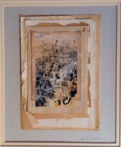 """Prospero's Book."" Casein and ink, vintage papers. From Salon de Refuse Studio, artist Rita McNamara. 11X14, matted."