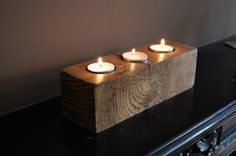Wooden Tea Light Candle Holder by CraftsIsland on Etsy, €15.00