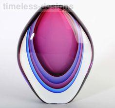 Extra Large Beautiful Submerged Murano Multi Sommerso Luigi Onesto Glass Vase