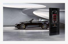 """""""Explora Totem"""" passive 55"""", brillant black & white lettering for Porsche"""