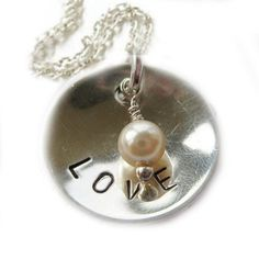 Photo of Love Custom Hand Stamped Necklace Personalized Dome Pendant silver plated chain