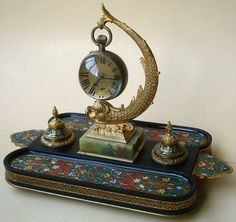 CHAMPLEVE FRENCH 19TH. CENTURY DESK SET PAPERWEIGHT BALL CLOCK INKWELL FISH ONYX #ParispossBarbedienne