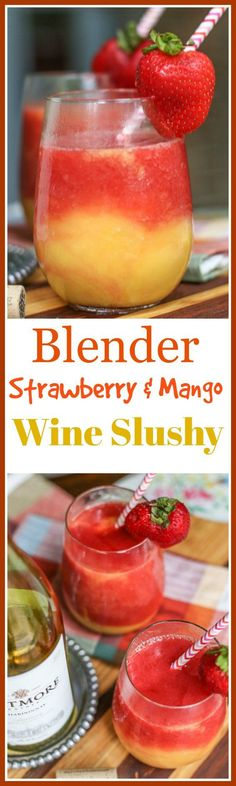 I don't know about you, but Slushies were one of my favorite childhood treats. A grown-up version. This Blender Strawberry and Mango Wine Slushy is easy to make and easier to drink! Fruity Drinks, Frozen Drinks, Refreshing Drinks, Summer Drinks, Cocktail Drinks, Fun Drinks, Cocktail Recipes, Cocktails, Alcoholic Beverages