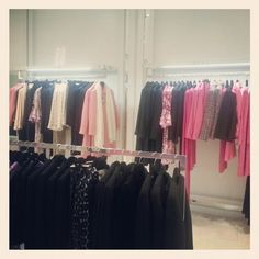 #visualmerchandising #display #louisekennedy #garmentrail #retaildesign #glass #classic #irishdesigner #pink #black
