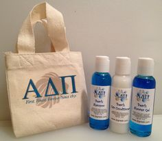 NEW!  Custom Sorority Shower Tote with Shampoo, Conditioner and Shower Gel! $10.00  37 different sororities to chose from! Soon to be available at www.jbgreek.com