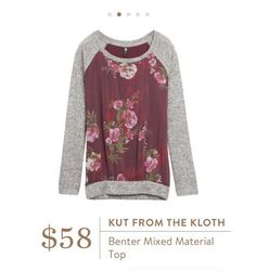 Stitch Fix: Kut From The Kloth Benter Mixed Material Top - such an easy, casual piece with pretty floral details ❤️