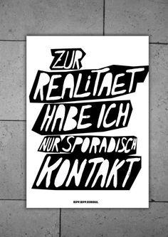 Typoprint / DIE RELITÄT UND ICH // Print 'reality and me' by hipphipphurra via DaWanda.com