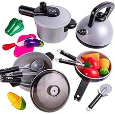 Pretend Play Kitchen Cooking Set, Pots and Pans, Kids Cookware Playset, Cutting Vegetable Little Girl Toys, Baby Girl Toys, Toys For Girls, Baby Girls, Kids Kitchen Accessories, Baby Doll Accessories, American Girl Doll Sets, Kitchen Sets For Kids, Pretend Play Kitchen