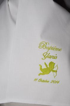 écharpe de baptême bébé ange personnalisée brodée pour garçon ou fille (ici vert) : Mode Bébé par lbm-creation