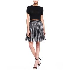 Alice + Olivia Metallic Skirt Metallic gathered mini skirt. Elastic waistband. Worn once. Alice + Olivia Skirts Mini