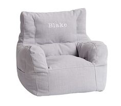Washed Grainsack Gray Bean Chair #pbkids