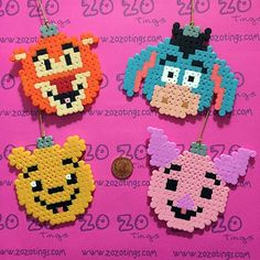 Winnie and friends Christmas ornaments hama perler beads by  zozotings