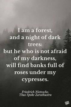I am a forest, and a night of dark trees: but he who is not afraid of my darkness, will find banks full of roses under my cypresses. Friedrich Nietzsche, Thus Spoke Zarathustra Rumi Love Quotes, Dark Quotes, New Quotes, Positive Quotes, Life Quotes, Inspirational Quotes, Brainy Quotes, Epic Quotes, Friedrich Nietzsche
