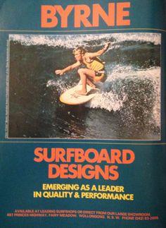 "1977 Byrne surfboards advertisement Chris Critta"" Byrne."