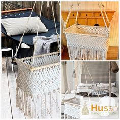 The incredible cradle is handmade (macramé) from soft unbleached cotton. And this cradle complies with the European NEN safety norms. Hanging Bassinet, Hanging Cradle, Hanging Crib, Comfort Mattress, Baby Cribs, Ibiza, Cover, Furniture, Home Decor