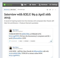 See our Storify of the interview with KXLU 88.9 of LA: http://storify.com/BertSternMadman/interview-with-kxlu-89-9-april-16th-2013