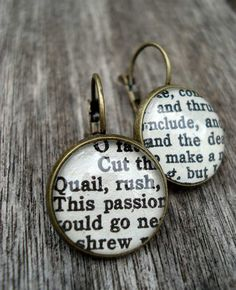 Shakespeare Earrings Vintage Book Jewellery by Bookity on Etsy,   Where do you get the backings for these? I feel like they should be easy to make.