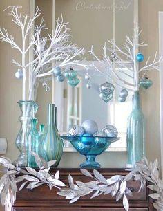 Blue themed Christmas decor