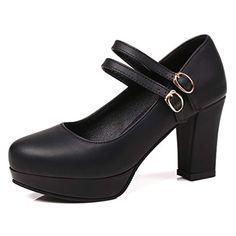 Femmes Mary Jane Escarpins Bloc Talons Compensés à bout pointu Velours Casual Party Chaussures Taille UK