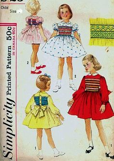 Simplicity Smocking for Toddler Girls Party, Flower Girl Dress Vintage Sewing Pattern Size 3 (Breast Vintage Wedding Childrens Sewing Patterns, Simplicity Sewing Patterns, Vintage Sewing Patterns, Smocking Patterns, Doll Patterns, Toddler Girl Parties, Toddler Girls, Sewing Basics, Sewing Tips