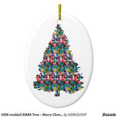 GEM studded XMAS Tree :  Merry Christmas Double-Sided Oval Ceramic Christmas Ornament