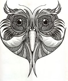 A3 Print of Patterned Owl Face.