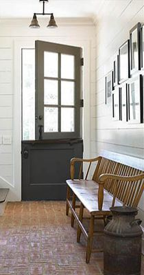 Entry hallway with contemporary stable door- love the grey