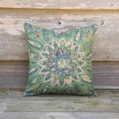 """Green and Blue Pillow Cover, Geometric Decorative Throw Pillow, Flower Cushion, 16"""""""