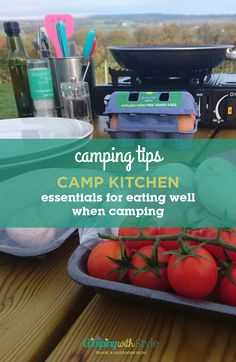Being able to prepare and cook proper food when camping really can make a huge difference to your enjoyment. With not a ration pack or tin of beans in sight, we share some essentials to help you kit out your camp kitchen in style! #camping #kitchen #cooking #campsite #campingtips #tips #food #cookingoutdoors #outdoorcooking