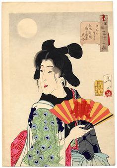 Yoshitoshi Tsukioka Japanese Ukiyo-e Prints Ladies with Fan