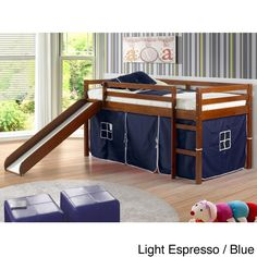 This durable twin-sized tent loft bed will add the perfect play space to any bedroom environment. This bed features rugged pine construction and a unique built-in tented under area that will provide your child with hours of playtime fun.