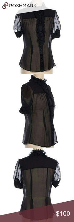 DVF Sheer Silk Black Ruffle Applique Blouse Like new. 100% silk. Diane von Furstenberg Tops Blouses