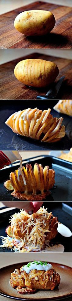 Slice potato (not all the way through), drizzle with olive oil, melted butter, salt, pepper and bake at 425* for 40 min or until tender.  Add remaining toppings and re bake until cheese is melted and top with sour cream and chives.