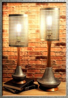 Mid-Century Dutch Teak Wood Dark Silver Ceramic Set of 2 Industrial Table Lamps #Industrial