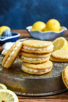 Lemon Sandwich Cookies are filled with a fresh and zingy lemon cream cheese filling that's perfect for spring!