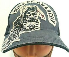 001c5a4ad6af5 Crime Drama TV Series Sons of Anarchy Two Color Fitted Black Baseball Cap  Hat  SonsofAnarchy