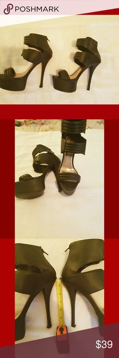 🔥Sexy Nights 🔥High Heels size 9 These sexy black sky high heels are from the brand Qupid! The heel is about 6 inches and they give you legs for days! These heels have had a fun life with me! I hope tgey can noe find a home with someone else. ❌PLEASE NOTE THE HEEL ON ONE OF THE SHOES IS MOSTLY GONE SELLING AS IS❌ Qupid Shoes Heels