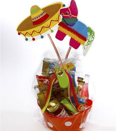 Love the mexican theme gift basket. Could fill with a bad of tortillas, salsa, and gift card for mex food