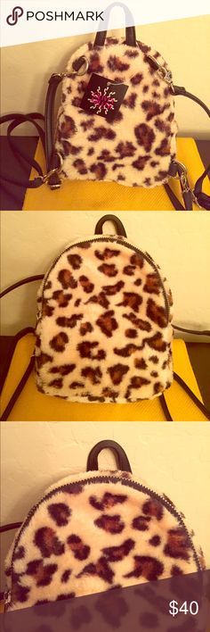 1dac1376f8f5 ... Purse🎒 🎉Fall Trends Party HP 10/29/17🎉 🎒Authentic Olivia Miller Animal  Print Backpack Purse. For Girls to Women. Faux Fur Leopard Print Shell.