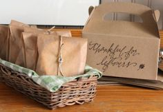 Talk of the House: cookies wrapped to go and hand lettered Thanksgiving boxes for leftovers