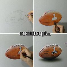 Marcello Barenghi: NFL Super Bowl XLIX Game Ball - drawing phases Watch me draw it: http://youtu.be/MfUmtORVC4s?list=UUcBnT6LsxANZjUWqpjR8Jpw