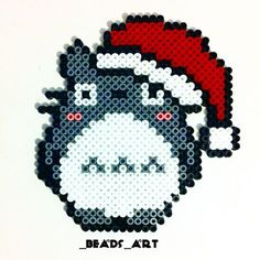 Christmas Totoro perler beads by _beads_art Perler Bead Designs, Perler Bead Templates, Diy Perler Beads, Pearler Bead Patterns, Perler Bead Art, Perler Patterns, Pearler Beads, Totoro, Pixel Beads