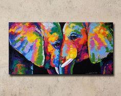 Pintura de colorido elefante 48cmH  98cmW por SumareeART en Etsy