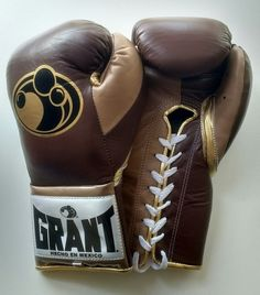Grant Worldwide Custom Pro Fight Boxing Gloves in Brown/Beige/Gold Grant Boxing Gloves, Boxing Boots, Vintage Box, Brown Beige, Guilty Pleasure, Big Boys, Mma, Sport, Gold