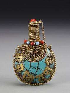 Chinese Tibetan Turquoise Snuff Bottle : Lot 335